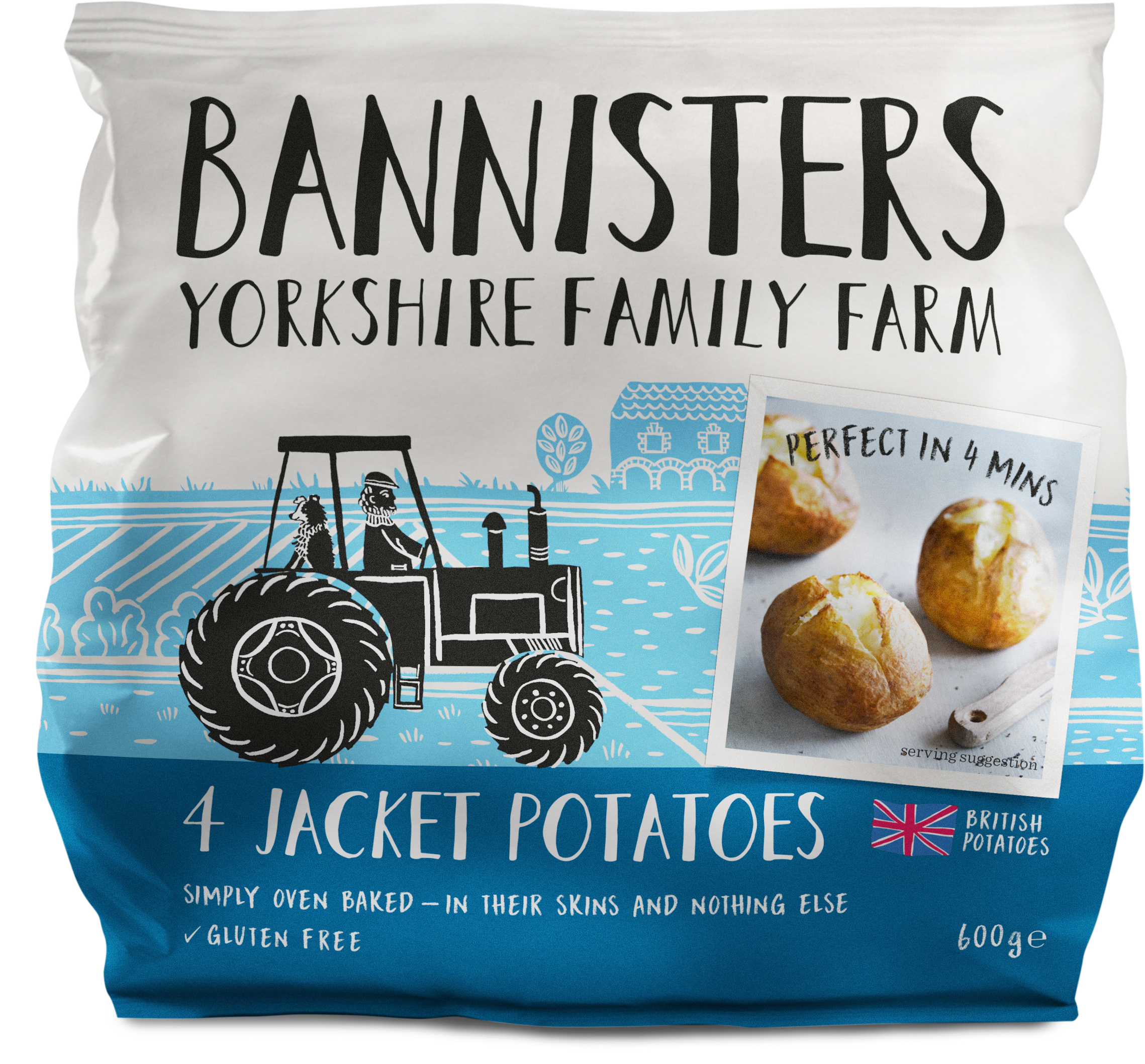 4 Ready Baked Naked Jacket Potatoes Bannisters Yorkshire