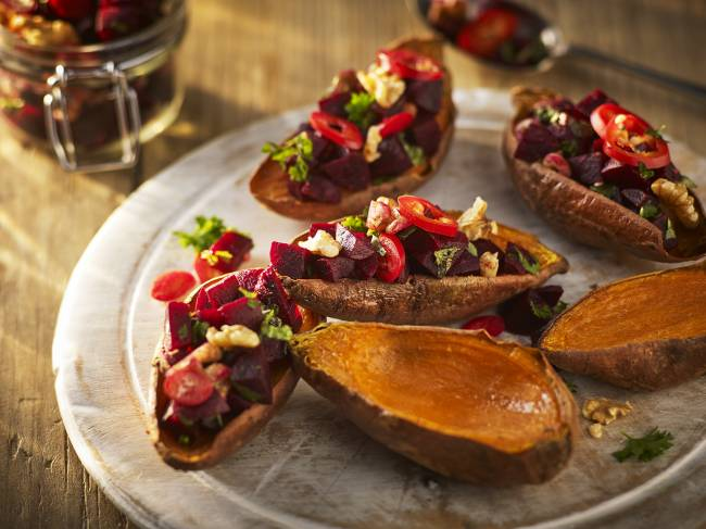 Superfood sweet potato skins