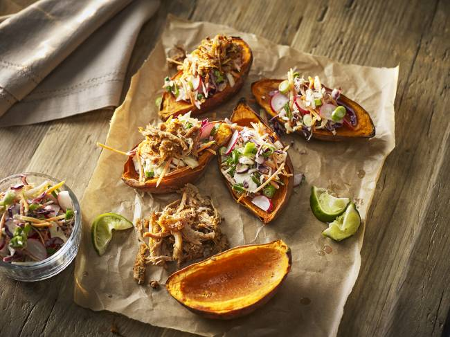 Pulled pork & coleslaw sweet potato skins